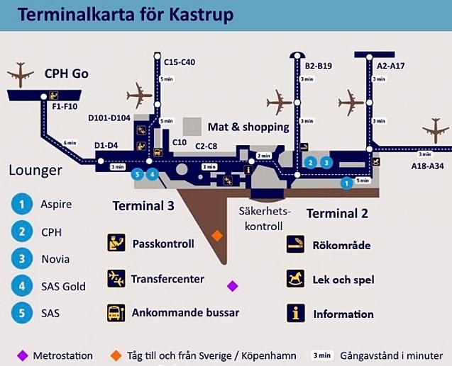 Karta över terminalerna på Kastrup